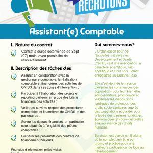 AVIS DE RECRUTEMENT – Assistant(e) Comptable