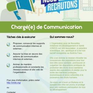 AVIS DE RECRUTEMENT – Chargé(e) de Communication