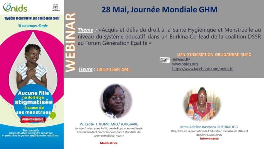 Webinaire sur la Journée Mondiale de la Gestion Hygiénique des Menstrues